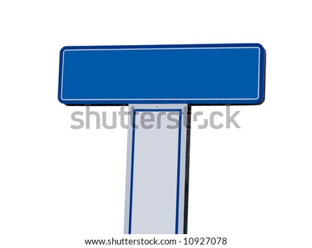 A close up on a blank sign isolated on a white background.