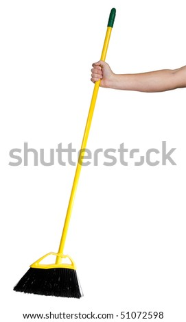 A close up on a broom isolated on a white background. - stock photo