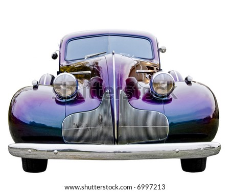 A close up on a classic car. - stock photo