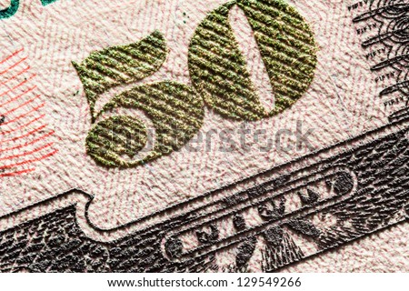 A close up on a fifty dollar bill - stock photo