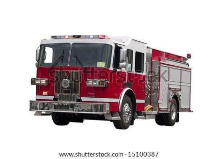 A close up on a firetruck isolated on a white background.