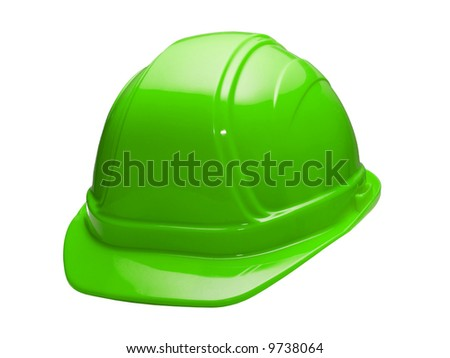 A close up on a green hard hat isolated on a white background. - stock photo