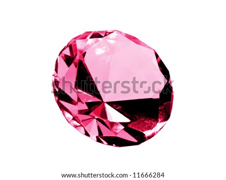 A close up on a ruby isolated on a white background. Shallow DOF. - stock photo