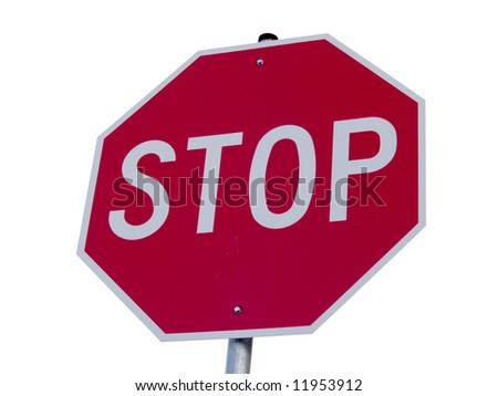 A close up on a stop sign isolated on a white background.