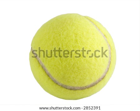 a close up on a tennis ball isolated on a white background