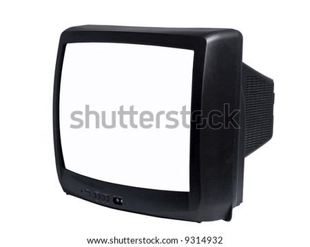 A close up on a tv isolated on a white background. - stock photo