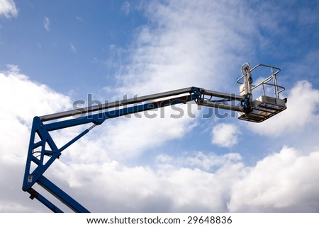 A close up on an industrial elevated crane platform. - stock photo