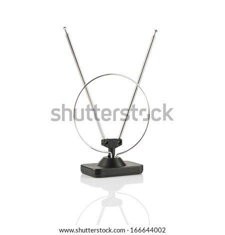 A close up on an isolated TV antenna - stock photo