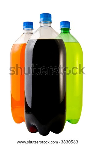A close up on three soda bottles isolated on a white background. - stock photo