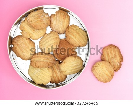 A close up photo of a biscuit tin - stock photo