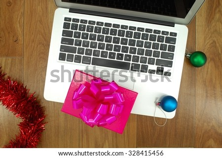 A close up photo of christmas decorations at work - stock photo