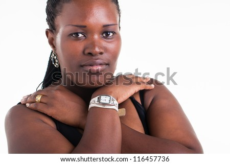 A close-up photograph of a young woman - stock photo