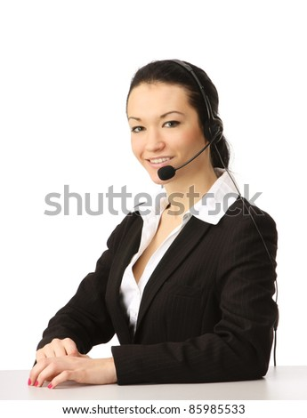 A close-up portrait of a female customer service operator. Studio shoot isolated on white background. - stock photo