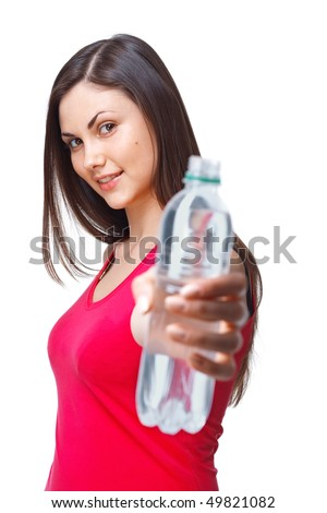 A close up portrait of a young woman bottle of water - stock photo