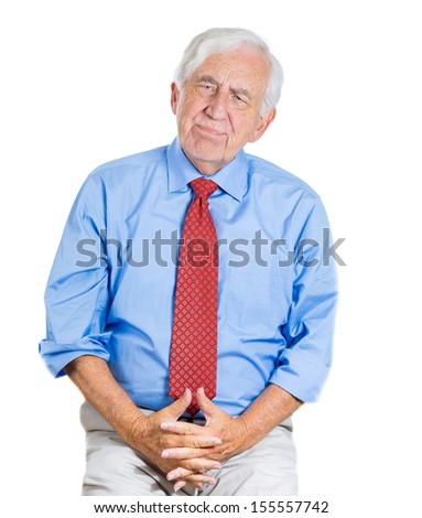 A close-up portrait of an old,sad, thoughtful, lonely man, trying to recall, remember something, isolated on a white background. Geriatrics problems, memory loss, Alzheimer's, depression. - stock photo