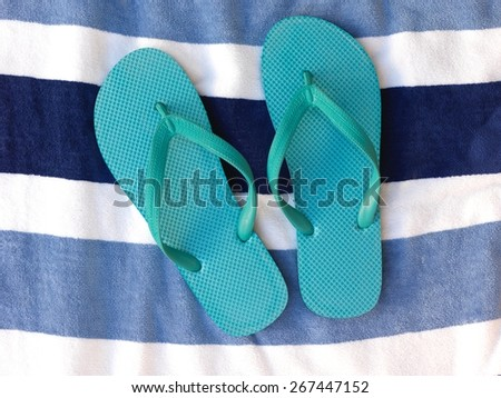 A close up shot of a beach towel - stock photo