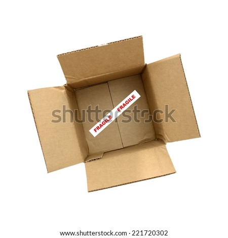 A close up shot of a cardboard box - stock photo