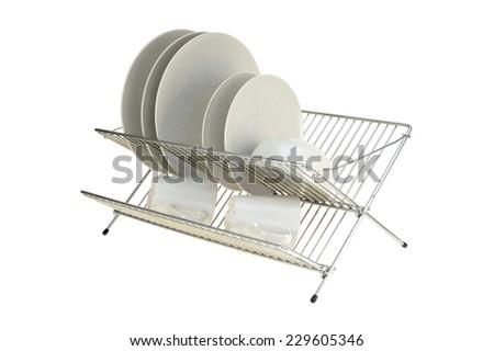 A close up shot of a dish rack - stock photo
