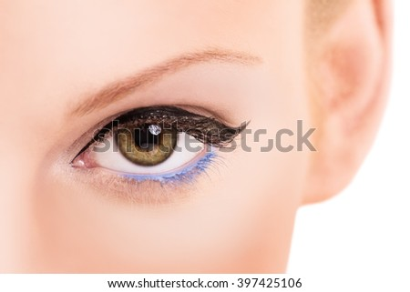 A close up shot of a female's eye with make up, isolated on white background.