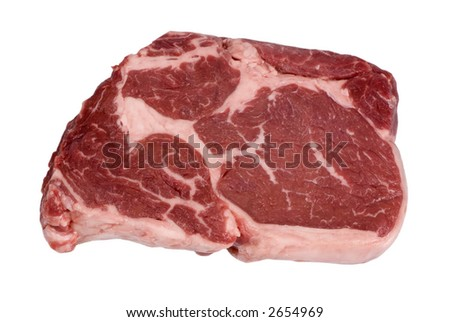 A close up shot of a fresh cut of Rib Eye steak.... ready for cooking - stock photo