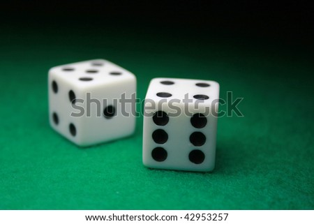 A close up shot of a pair of dice