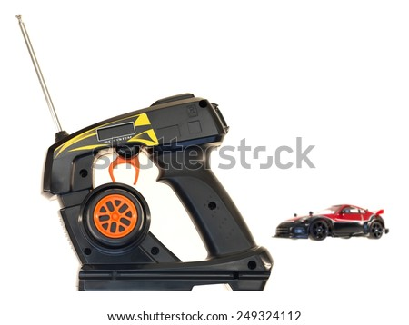 A close up shot of a RC control vehicle - stock photo