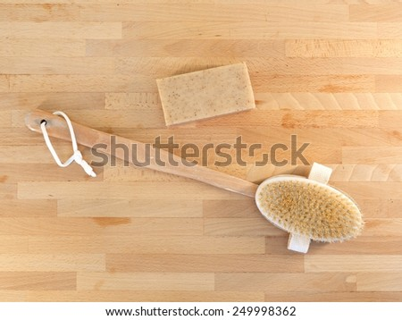 A close up shot of a shower brush - stock photo