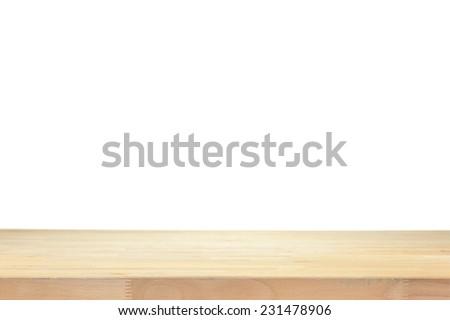 A close up shot of a wooden shelf - stock photo