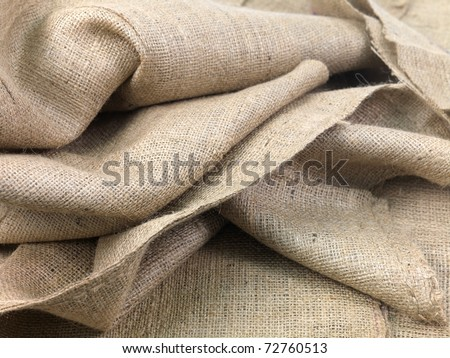 A close up shot of brown hessian cloth - stock photo