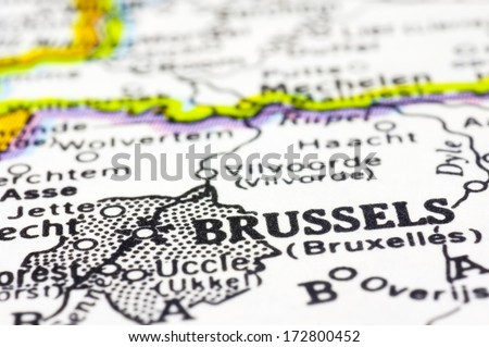 A close up shot of Brussels on map, capital of Belgium.  - stock photo