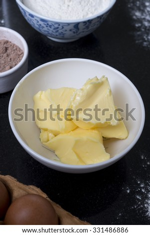 A close up shot of butter in a dish