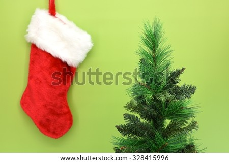 A close up shot of christmas stocking - stock photo