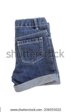 A close up shot of denim shorts - stock photo