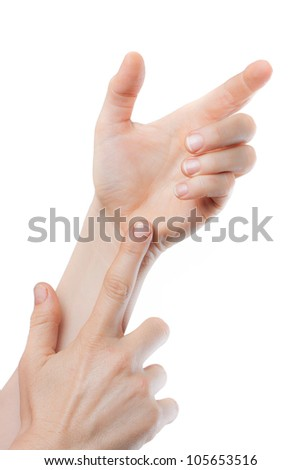 A close-up shot of hands holding and pointing at nothing. Space for text or product to be placed in hand. Isolated on white.