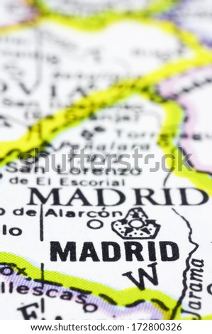 A close up shot of Madrid on map, capital of Spain. - stock photo