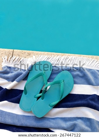 A close up shot of pool side items - stock photo