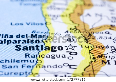 a close up shot of Santiago on map, capital of Chile. - stock photo