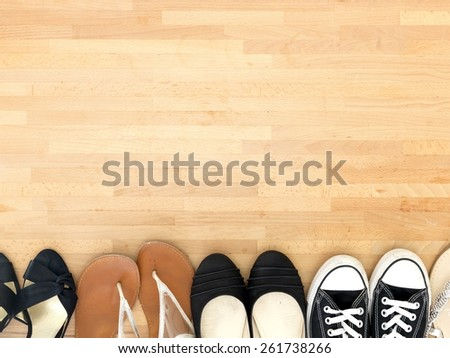 A close up shot of shoes on carpet - stock photo