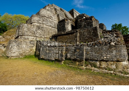 A close up side view of the Altun Ha temple - stock photo