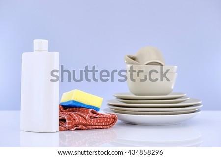 A close up studio photo of dishwashing detergent - stock photo
