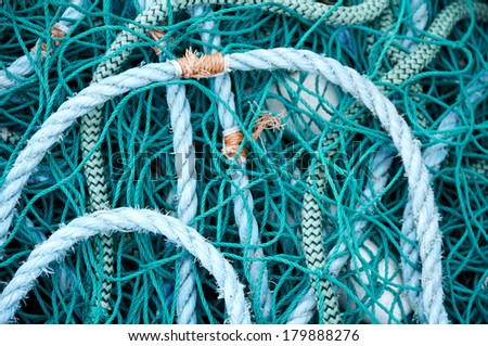 A close up view of fishing nets