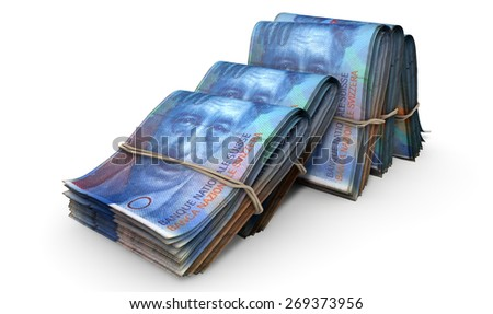 A close-up view of five wads of folded over stacks of dirham banknotes each bound informally by a rubber band set out in a domino formation on an isolated white studio background - stock photo