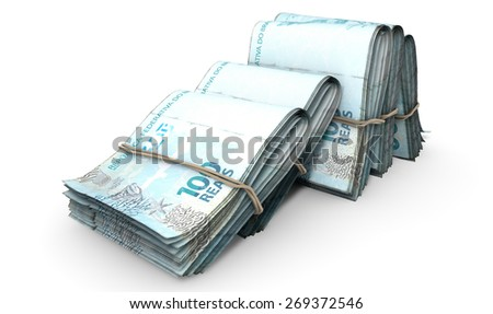 A close-up view of five wads of folded over stacks of norwegian kroner banknotes each bound informally by a rubber band set out in a domino formation on an isolated white studio background