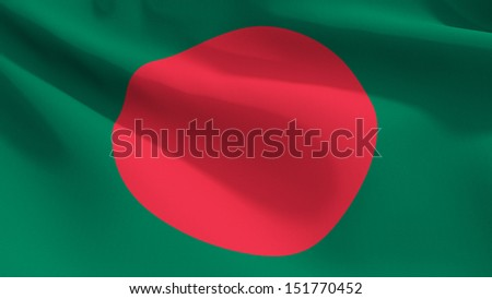A close up view of the flag of Bangladesh with fabric texture visible at 100%.  - stock photo