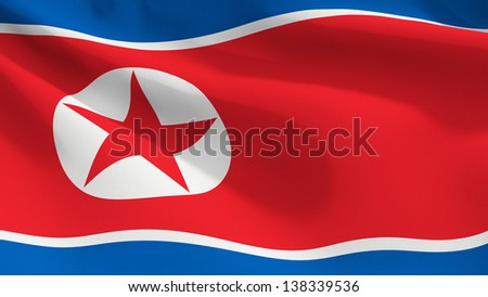 A close up view of the flag of North Korea. Fabric texture visible at 100%.