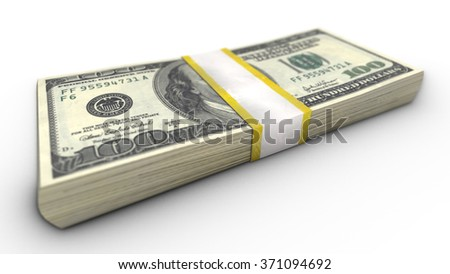 A close-up view of the stack of one hundred dollar bills on white background. Income concept.