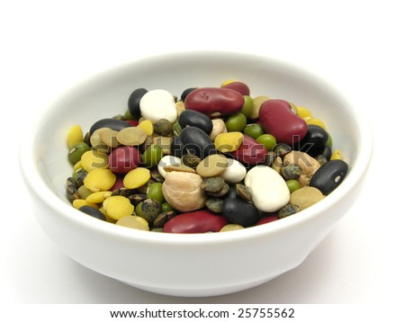 A close-up view on mixed and colourful legumes in a bowl of chinaware