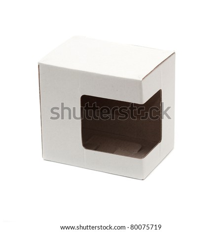 A closed cardboard box over a white background - stock photo