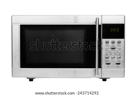 A closed microwave made of shiny metal isolated on a white background
