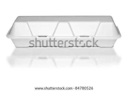 A closed polystyrene food storage container on white background - stock photo